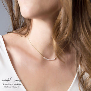 Rose Quartz Bar Necklace - Boutique Baltique