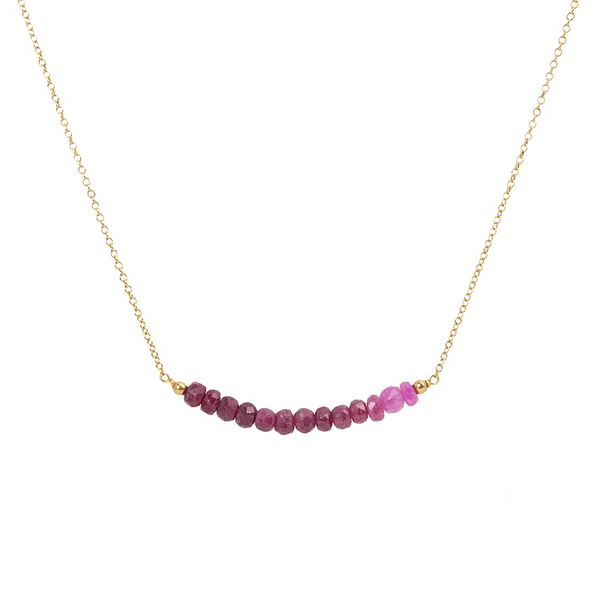 Ombre Ruby Bar Necklace in Gold - Boutique Baltique