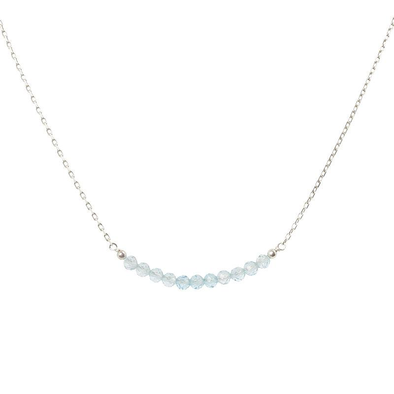 Sky Blue Topaz Bar Necklace - Boutique Baltique