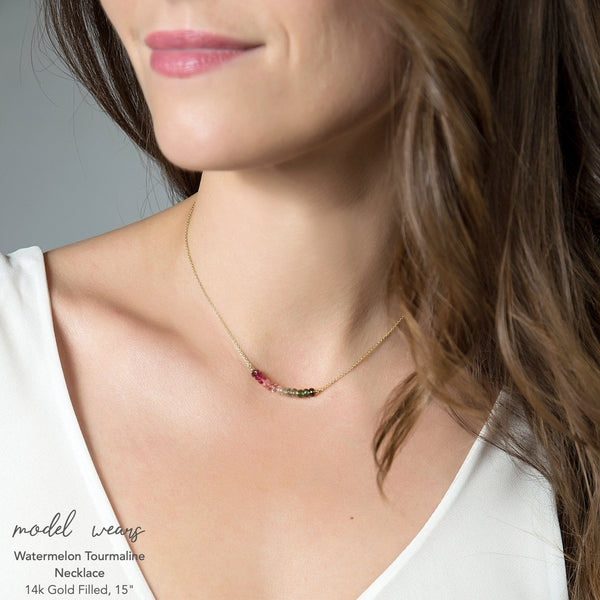 Watermelon Tourmaline Bar Necklace - Boutique Baltique