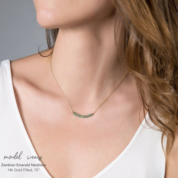 Zambian Emerald Bar Necklace - Boutique Baltique
