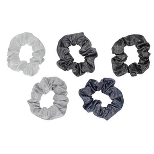 HAIR METALLIC SCRUNCHIES- BLACK/GRAY