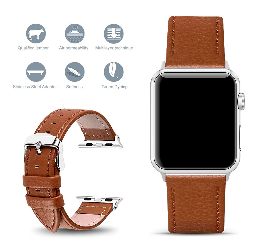Apple watch leather band with metal buckle