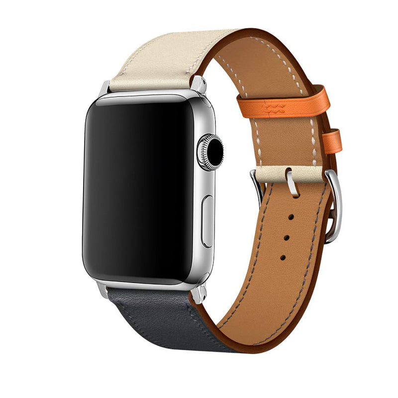 Premium Leather Contrast Apple Watch Band