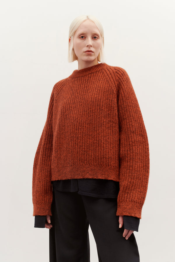 ESP FUNCTIONAL KNIT SWEATER COGNAC