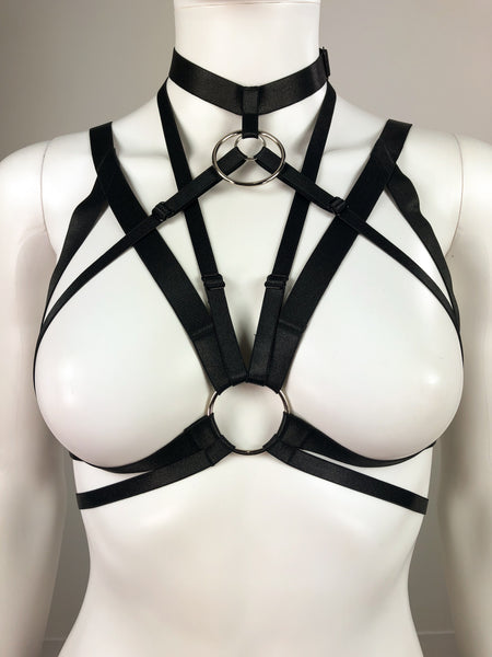Demona O-ring Cage Bra - Gothic and Alternative Apparel & Accessories