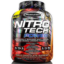 Load image into Gallery viewer, MuscleTech Nitro Tech Power 4 lbs Triple Chocolate Supreme