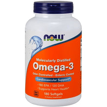 Load image into Gallery viewer, NOW Omega 3 Fish Oil Enteric Coated 180 softgels