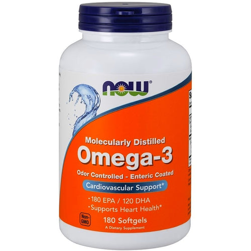 NOW Omega 3 Fish Oil Enteric Coated 180 softgels