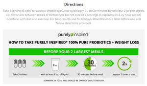 Purely Inspired Probiotics + Weight Loss 84 veggie capsules