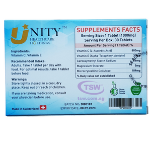 Unity Healthcare Defendre Vitamin C+E 30 tablets