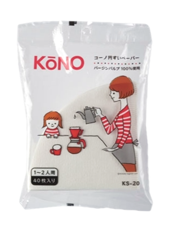 KONO KS-20 Filter Paper (1-2 Cups//Cone-shape//40 Sheets)
