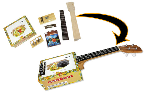 CB Gitty Cigar Box Ukulele DIY Kit - Everything Included - Download Instructions for Free!