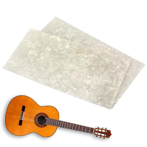 2pcs White Pearl Celluloid Guitar Head Veneers 200x100x5mm Shell Sheets Guitar Parts