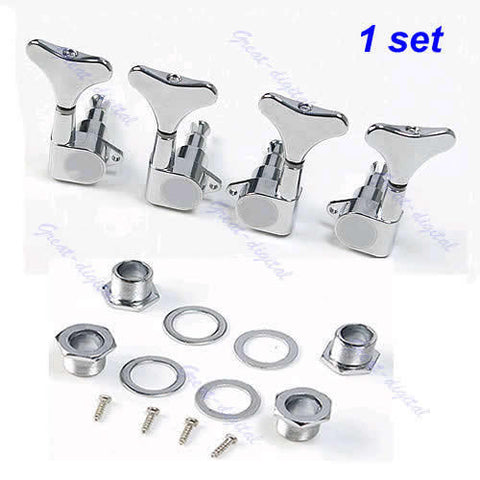 E74 New New Chrome Guitar Sealed Tuners Tuning Pegs Machine Heads 2R2L For 4 String Bass