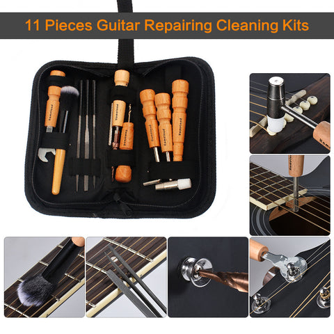 11 Pieces Guitar Repairing Maintenance Cleaning Kits Convenient Repair Tool Set for Guitar Ukulele Bass Banjo Violin