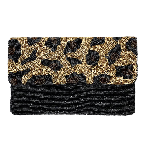 Leopard Beaded Clutch