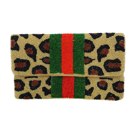 Leopard Line Beaded Clutch