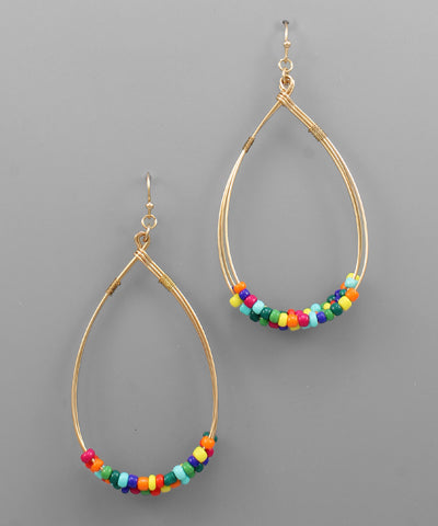 Teardrop Hoops with Colored Beads
