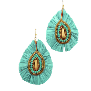 Teardrop Bead & Raffia Earrings - various colors