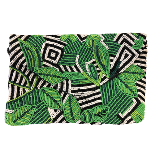 Leaf & Zebra Pattern Bead Clutch