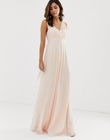 Rustic Wedding Bridesmaid Dress - Maids to Measure Maxi Dress with Bow Back