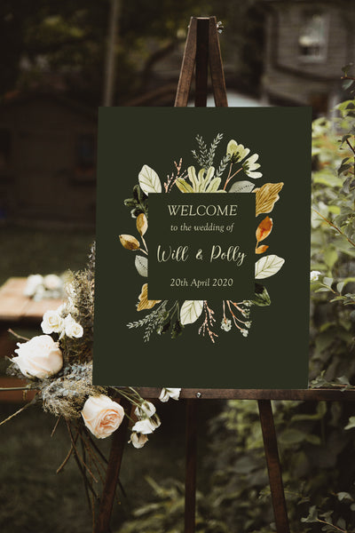 wedding welcome sign forest foliage