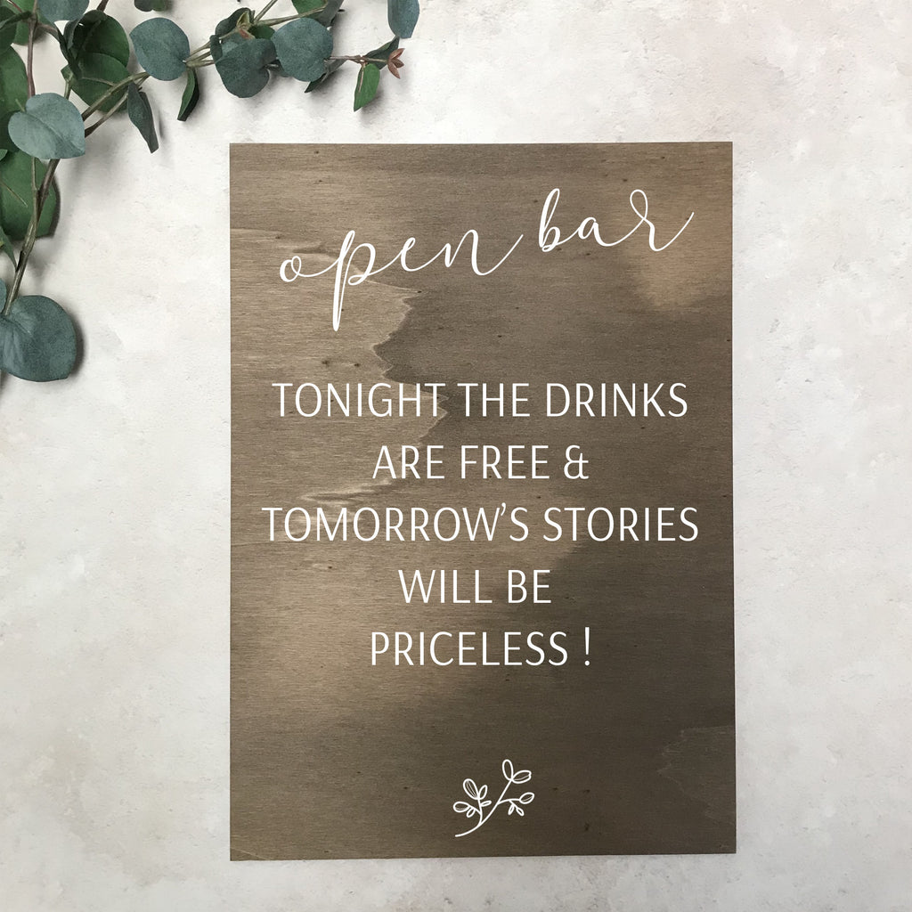 Open Bar Wooden Wedding Sign