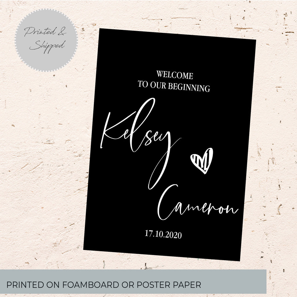 Printed wedding sign -personalised  welcome sign
