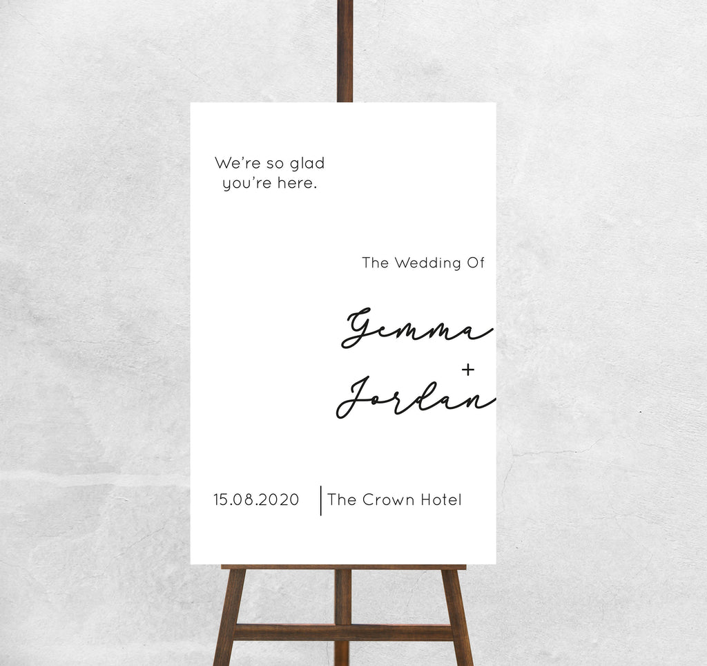 Wedding Welcome Sign We are so glad you are here Welcome Sign
