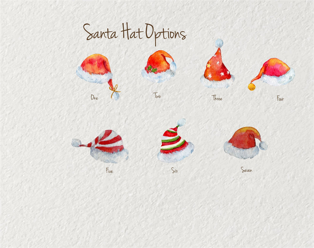 PERSONALISED  CHRISTMAS PRINT - Santa Hats