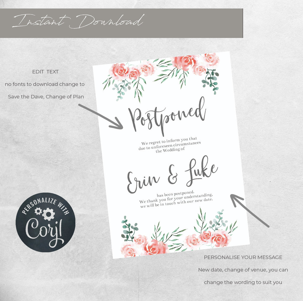 WEDDING POSTPONED CARD. printable wedding template, A6 Wedding Card, Instant Download, DIY wedding template