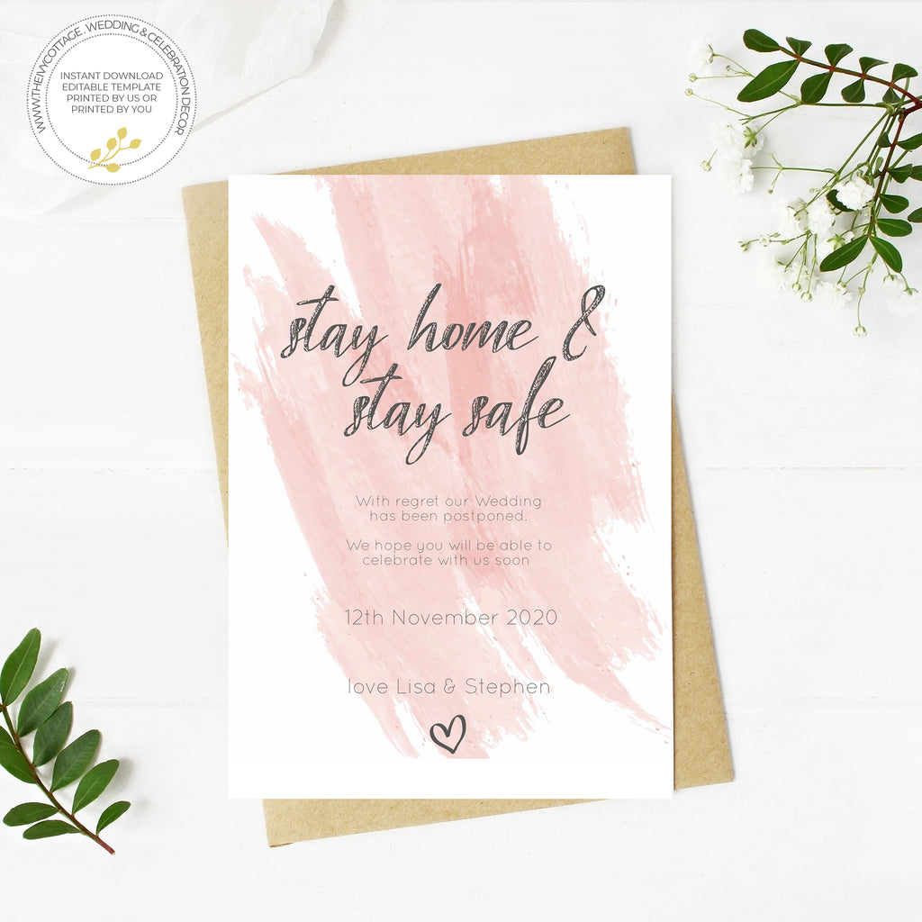 WEDDING POSTPONED CARD.  Pink Watercolour printable wedding template, A6 Wedding Card, Instant Download, DIY wedding template