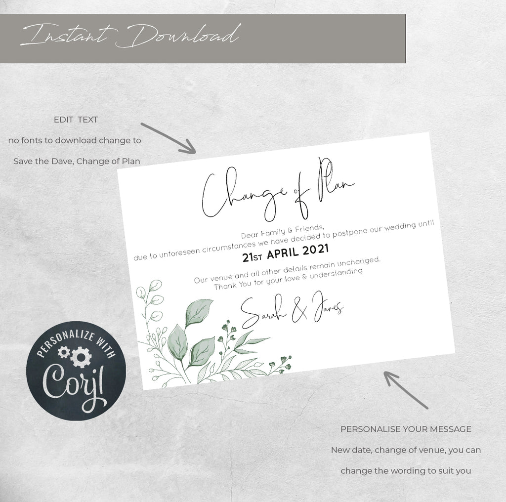 Hand drawn foliage WEDDING POSTPONED CARD. printable wedding template, A6 Wedding Card, Instant Download, DIY wedding template