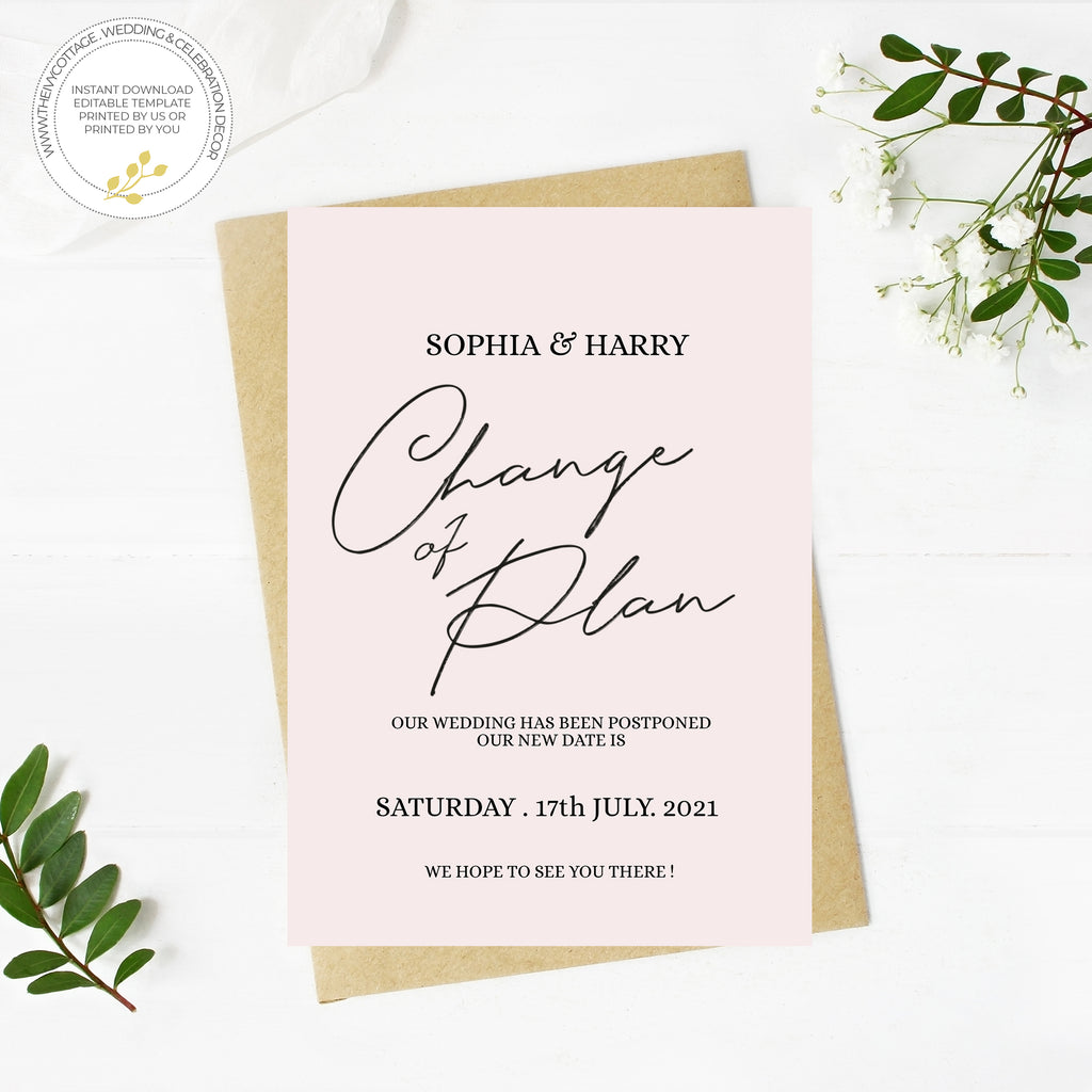 Minimal Black WEDDING POSTPONED CARD. printable wedding template, A6 Wedding Card, Instant Download, DIY wedding template