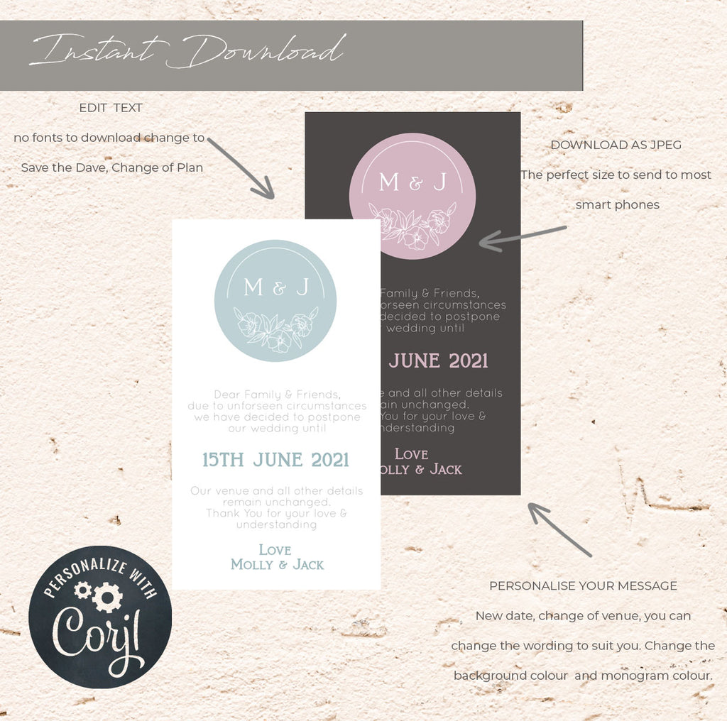 Virtual Change the date. e-vite wedding template, A6 Wedding Card, Instant Download, DIY wedding template