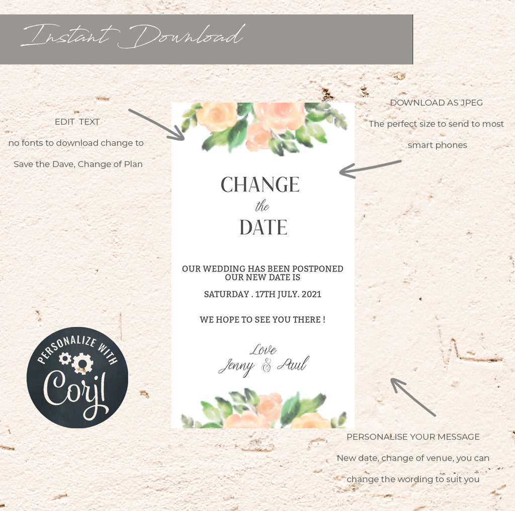 Virtual Change the date.  Blush Floral e-vite wedding template, A6 Wedding Card, Instant Download, DIY wedding template