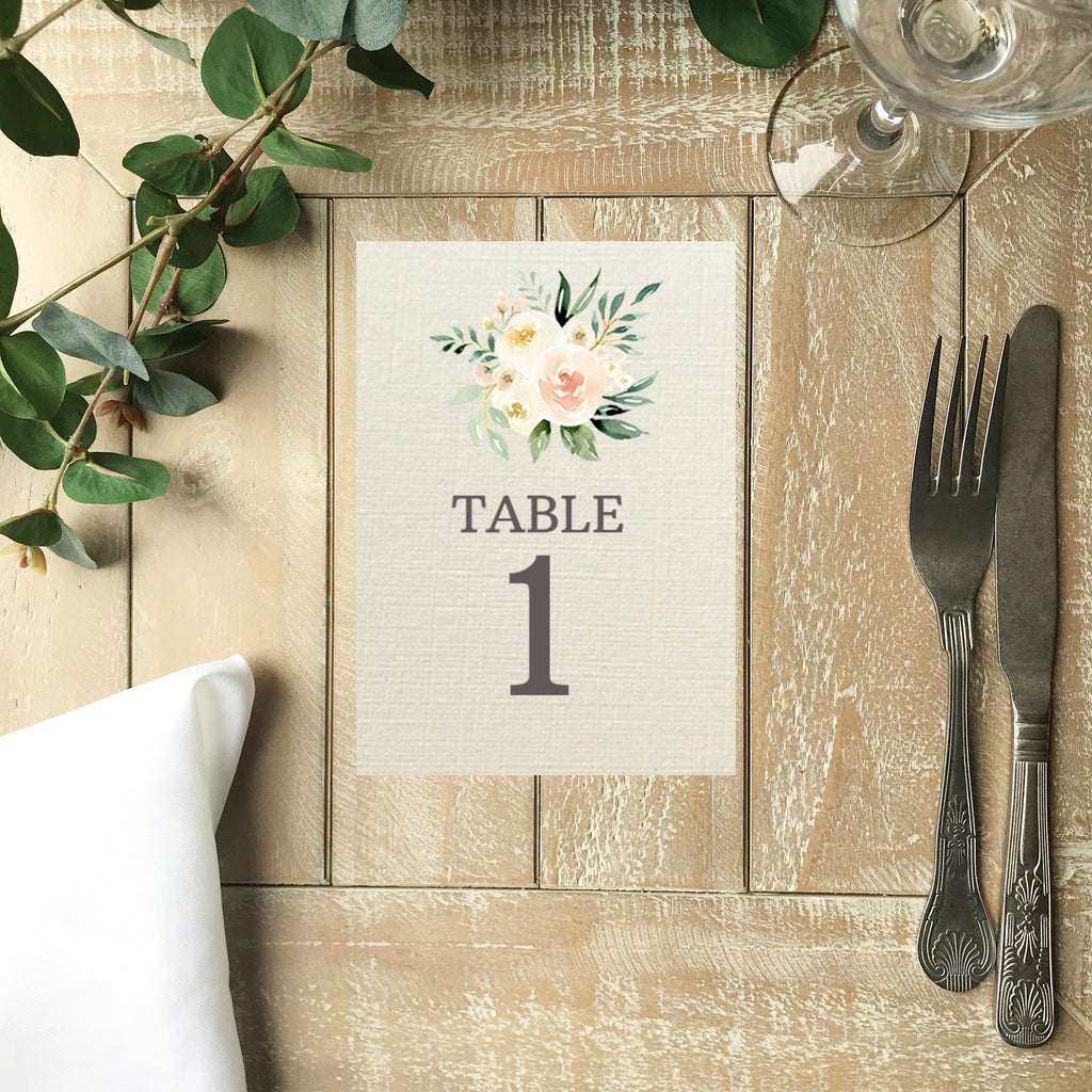 Wedding Table Number -  Blush Pink Floral Wedding Table Number Card