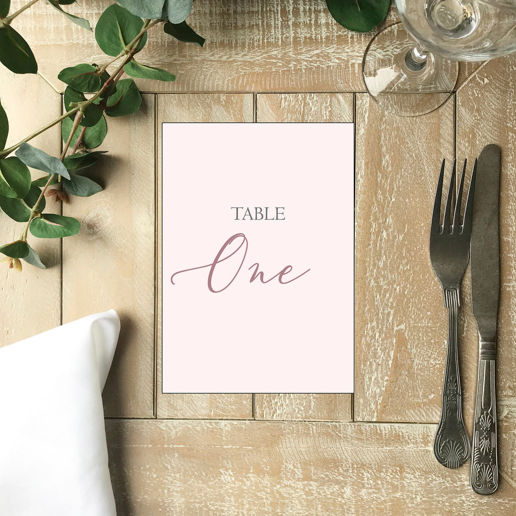 Wedding Table Number - Dusky Pink Wedding Table Number Card