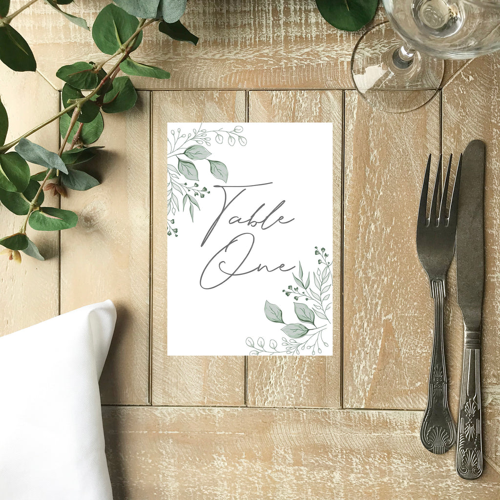Wedding Table Number - Handdrawn Foliage Table Number Card