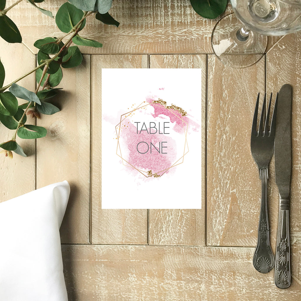 Wedding Table Number - Pink and Gold Geometric Number Card