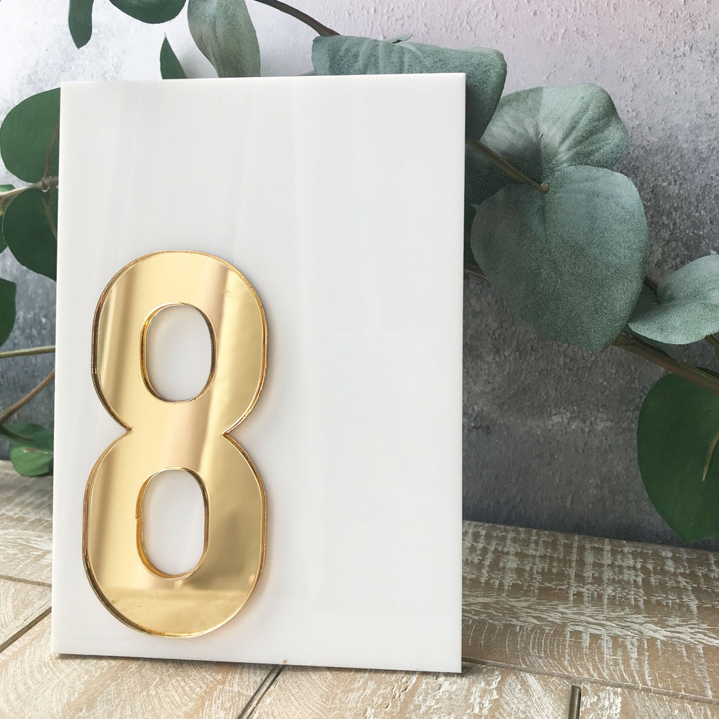 Wedding Table Number - White and Gold Layered Acrylic Table Name
