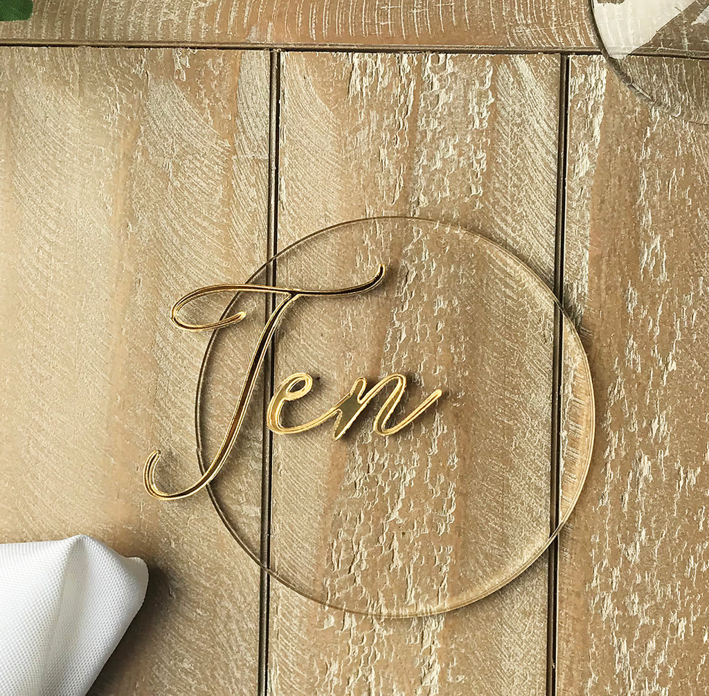 Wedding Table Number - Acrylic and Gold Round Layered Acrylic Table Name