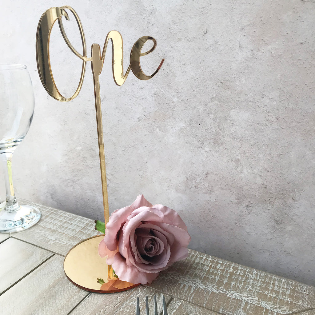 Wedding Table Number - Gold Mirror Acrylic Script Style Table Name