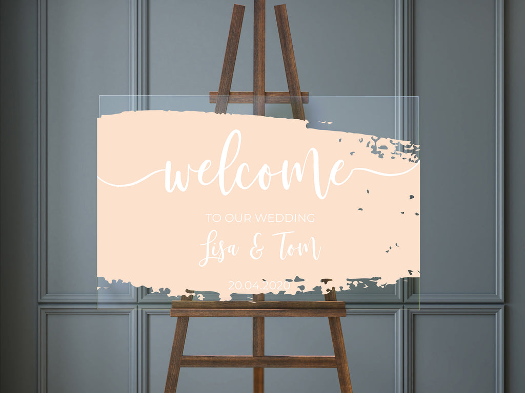 Acrylic Wedding  Sign  - Welcome to our Wedding, with blush pink brushed paint fully customisable.