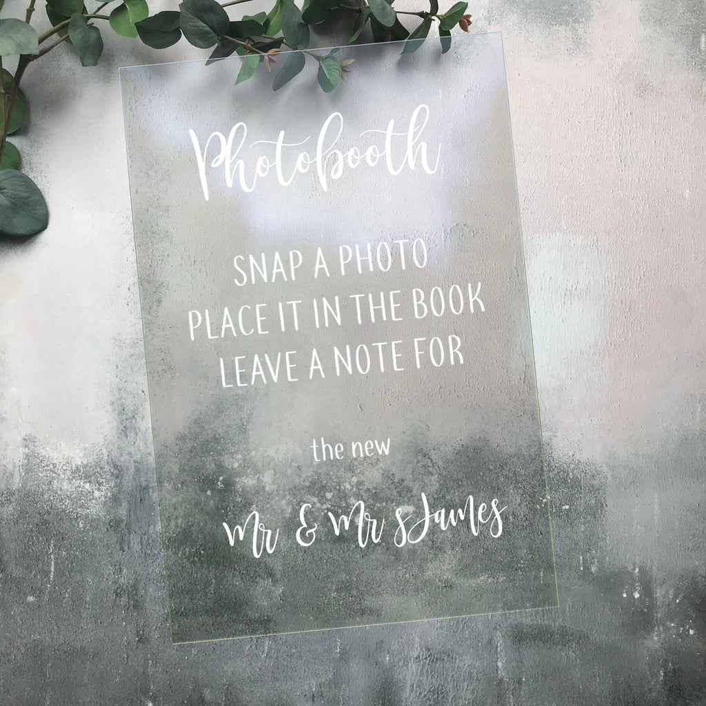 Photobooth  Acrylic Wedding Sign