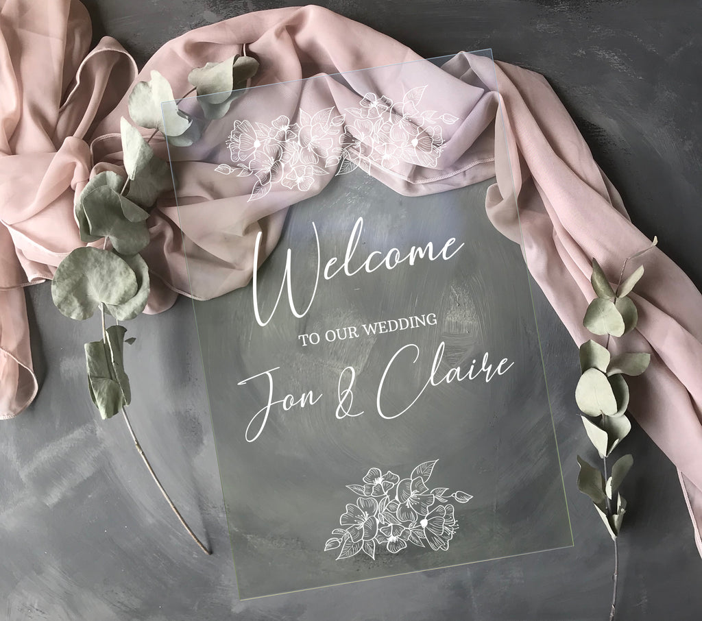 Acrylic Wedding Sign - White Floral Wedding Welcome Sign