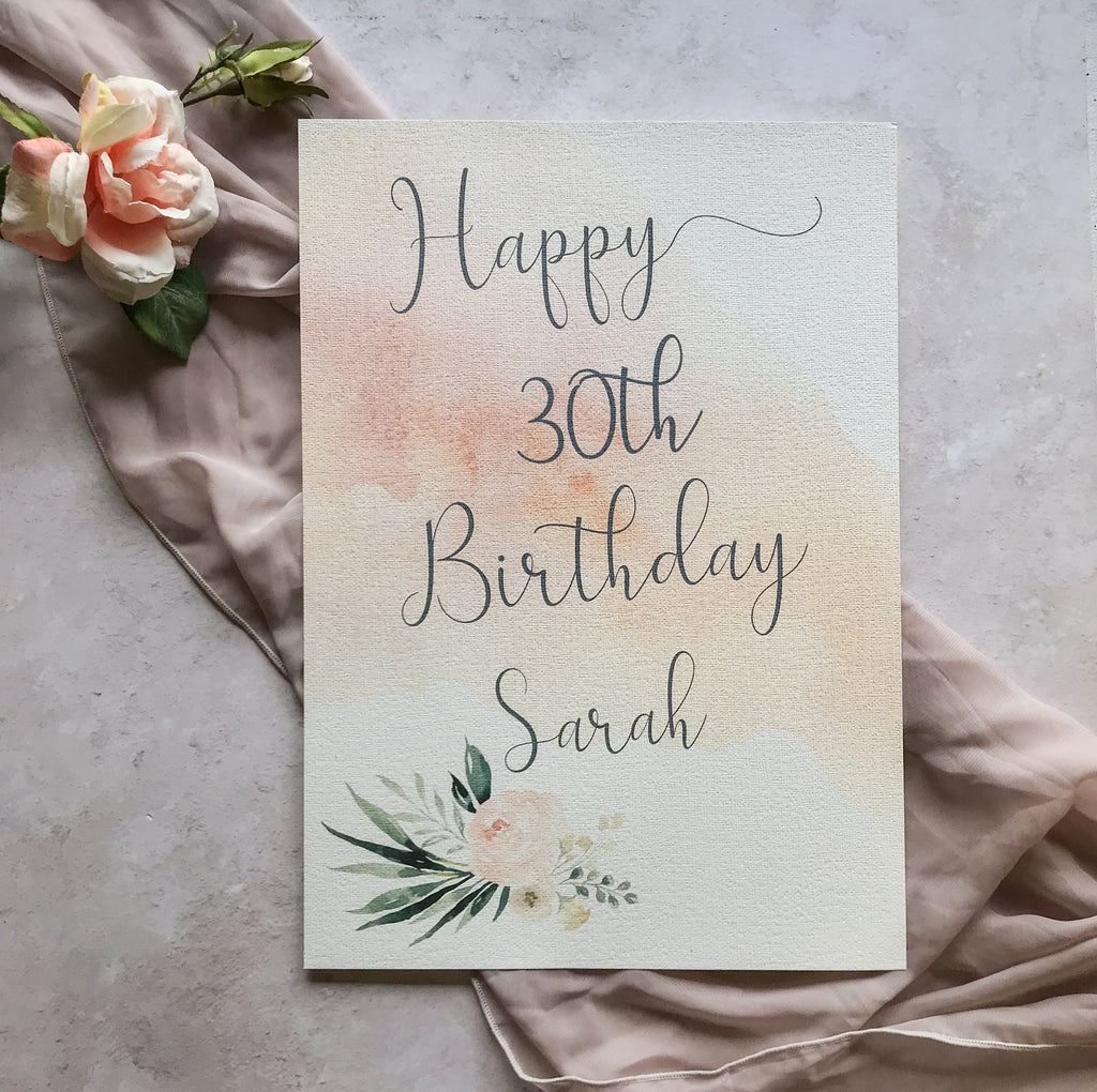 Birthday Party Sign - WatercolourFloral, Personalised & Printed