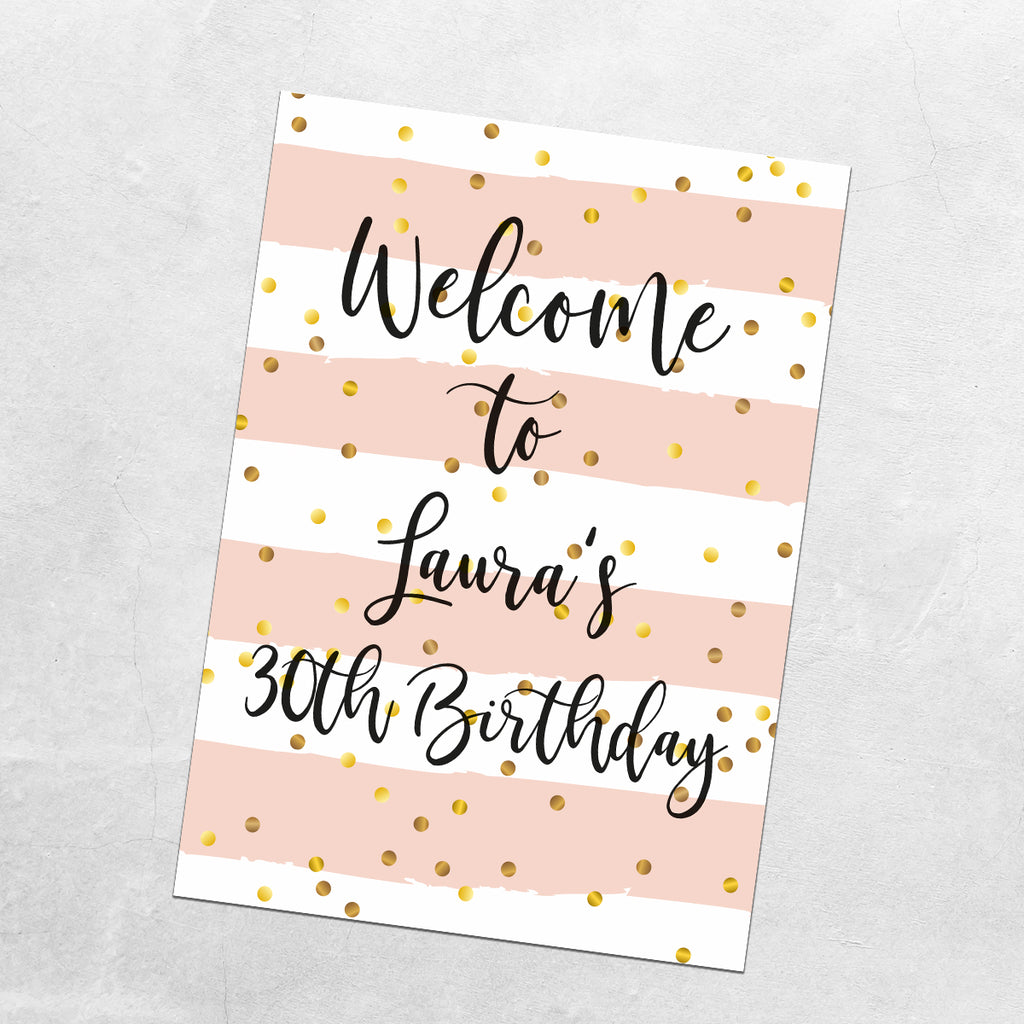 BIRTHDAY  WELCOME SIGN - Pink and Black Design
