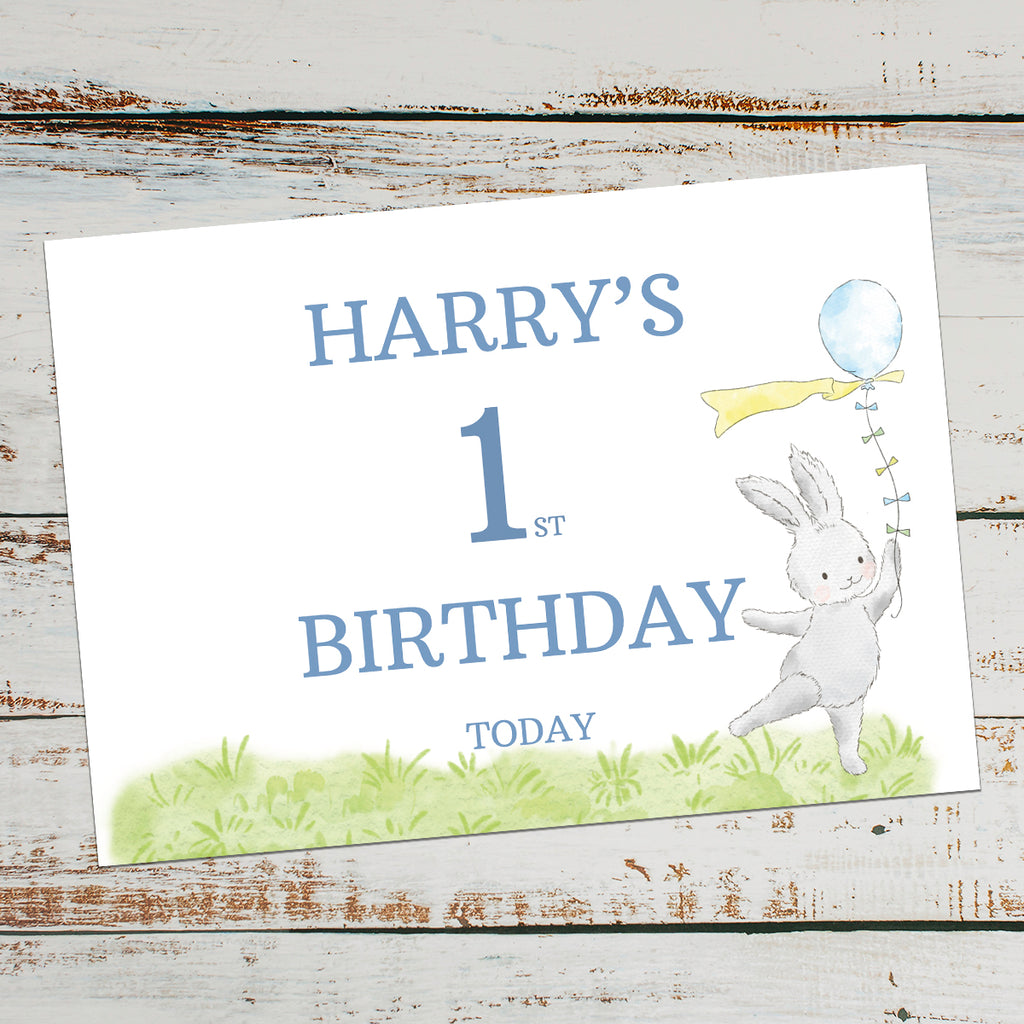 FIRST BIRTHDAY SIGN - Blue Birthday Bunny
